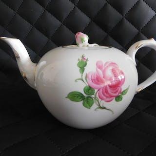 Meissen Teekanne-Rote Rose - Porzellan