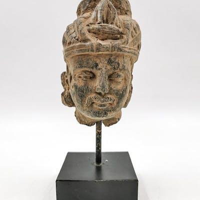 Gandhara Schist Buddha Head Mounted on Stand