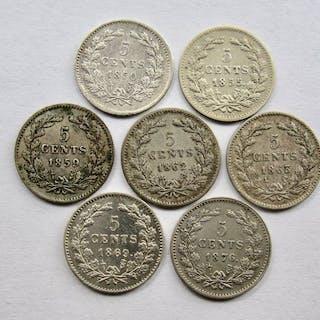 Die Niederlande - 5 Cent 1850/1876(7 verschillende) -Willem III- Silber