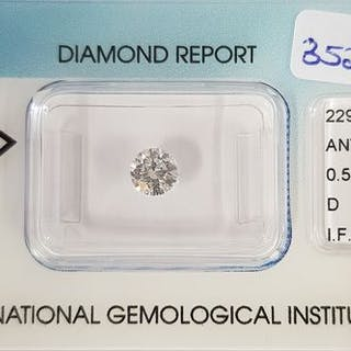1 pcs Diamond - 0.52 ct - Brilliant - D (colourless) - IF (flawless)