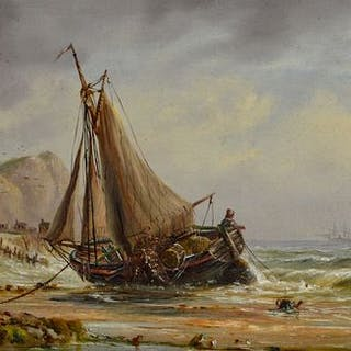 M. Hunt (19th century) - Fishing boats off the coast of Devon