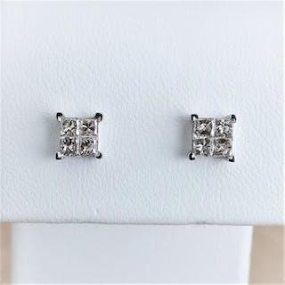 14 kt. White gold - Earrings - 1.12 ct Diamond