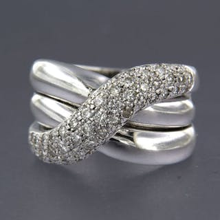 18 kt. White gold - Ring - 1.04 ct Diamond
