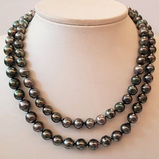 NO RESERVE PRICE - 925 Silver - 8x11mm Peacock Tahitian Pearls - Necklace