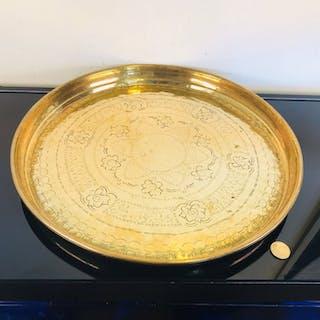 Bellissimo piatto orientale in rame molto grande - Firmato - 42 cm