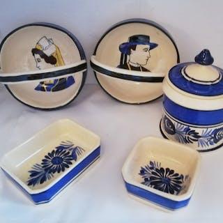 Henriot - Quimper - 2 tazones - 2 cestas de cerámica...