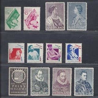 Niederlande 1931/1934 - Various issues - NVPH 238/243, 252/255, 265/266