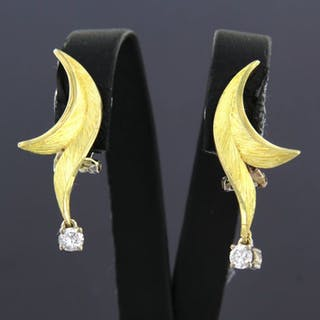 14 kt. White gold, Yellow gold - Earrings - 0.25 ct Diamond