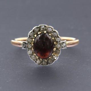 18 kt Roségold, Weißgold - Ring - 0.25 ct Diamant - Granat