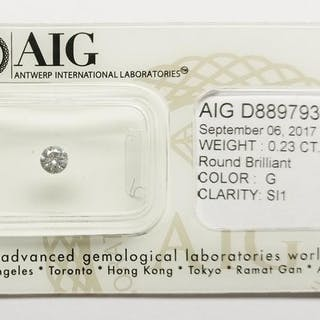 1 pcs Diamonds - 0.23 ct - Round - G - SI1, No Reserve Price