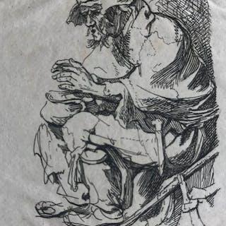 Rembrandt Harmensz van Rijn (1606-1669) (Naar) - Zittende bedelaar