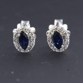 14 kt. White gold - Earrings - 0.20 ct Diamond - Sapphire