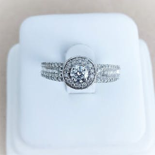 18 kt. White gold - Ring - 0.25 ct Diamond - Diamonds
