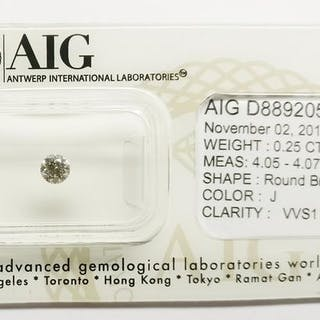 1 pcs Diamonds - 0.25 ct - Round - J - VVS1