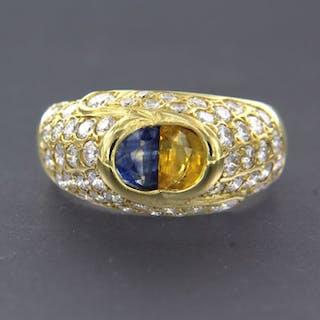 18 kt. Yellow gold - Ring - 1.50 ct Diamond - Sapphire