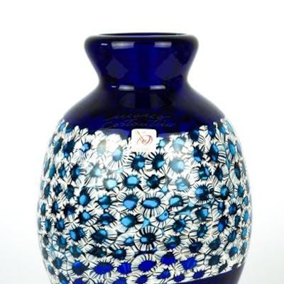 Mario Costantini (Murano) - Vaso Blu e murrina esclusiva 1/1 - (cm 25) - Vetro