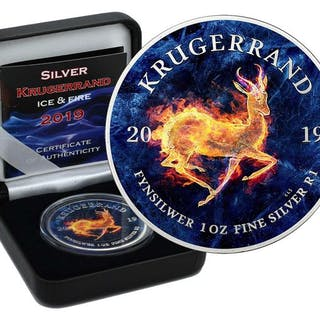 Südafrika - Krugerrand 2019ICE & FIRE Color Edition in Box - 1 Oz - Silber