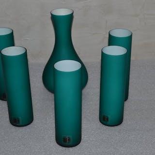 Carlo Moretti - Satz von Murano Incamiciato Vasen Nr. 1233, 1973 (6) - Glas