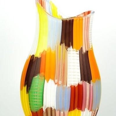 Mario Costantini (Murano) - Vaso Tessuto multicolore 1/1 - (cm 46) - Vetro