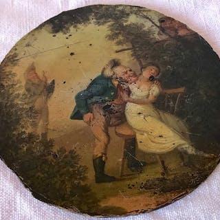 Georgian handbemalte Patch Box Deckel - Pappmaché - ca. 1810