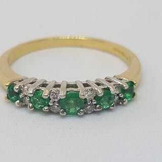18 kt. Gold - Ring - 0.33 ct Emerald - Diamonds