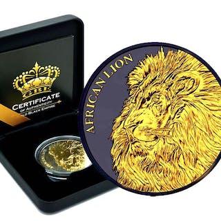 Tschad - 5000 Franc 2018 African Lion Tchad Gold Black...