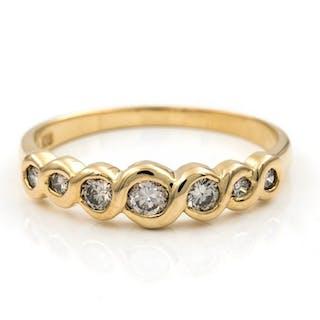 18 quilates Oro, Oro amarillo - Anillo Diamante