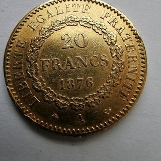 France - 20 Francs 1876-A Génie - Gold