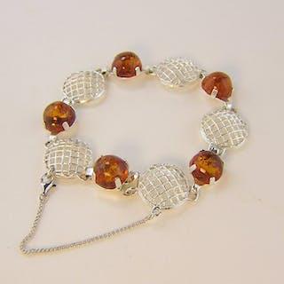 antik,Fischland - 835 Silber - Armband - 10.00 ct Honey Bernstein