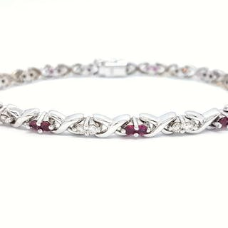 585 White gold - Bracelet Diamond - Ruby