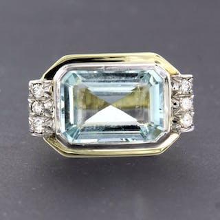 14 kt. White gold, Yellow gold - Ring - 0.15 ct Diamond - Topaz