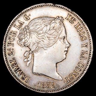 Spain - 20 Reales- Isabel II (1833 - 1868) - Madrid - 1859. - Silver