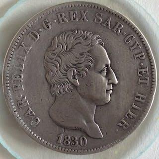 Italien - Königreich Sardinien - 1830 - 5 Lire Carlo...