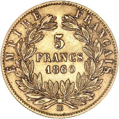 France - 5 francs  1860-BB Napoléon III - Or