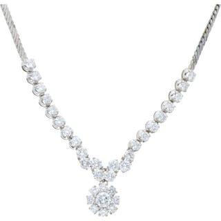 18 kt. White gold - Necklace - 3.55 ct Diamond