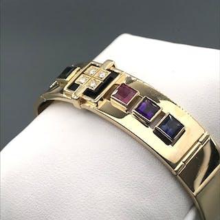 18 kt. Yellow gold - Bracelet - 0.16 ct Diamond - Amethysts