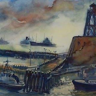 Frans Naerebout - Zicht op haven loodswezen