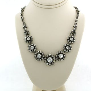 14k goud, 835 zilver Silver, Yellow gold - Bracelet, Necklace - 4.00 ct Diamond