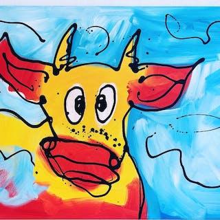 Rick Triest - Kleurrijke koe met sky bleu