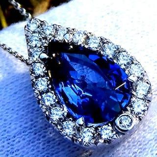 14 kt Weißgold - Halskette mit Anhänger Caylon Blue Sapphire - Diamant