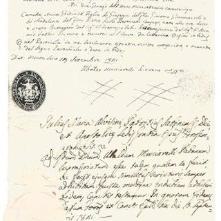 Julius Maria Alvisini Cardinale - Manuscript; Birth certificate