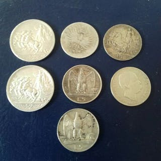 Italien - 7 monete regno d Italia argento Lira 7 monete...