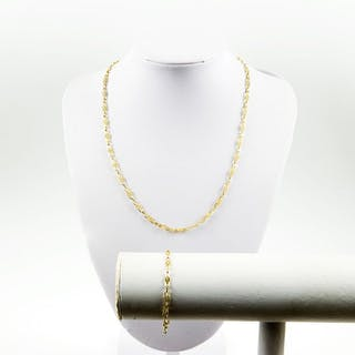 18 kt. Gold - Bracelet and Necklace set. 18k 12 gr.