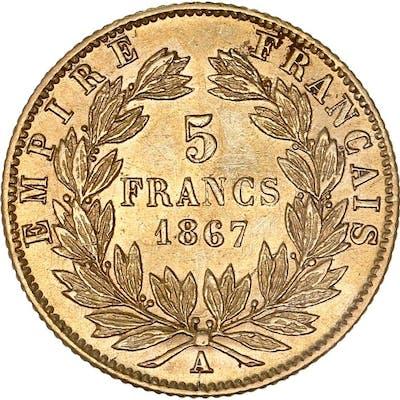 France - 5 Francs  1867-A Napoléon III - Or