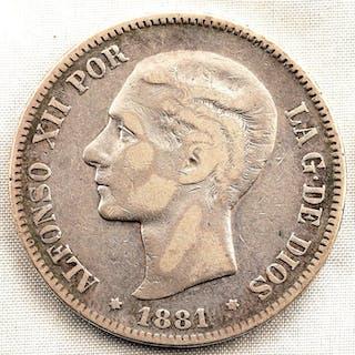 Spanien - 5 Pesetas - 1881 - Madrid - Alfonso XII - RARA - Silber