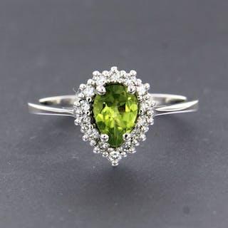 18 kt. White gold - Ring - 0.20 ct Diamond - Peridots