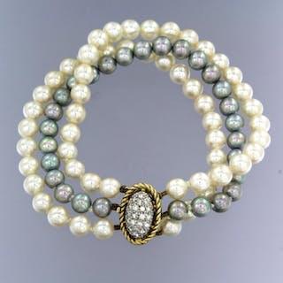 14 kt. White gold, Yellow gold - Bracelet - 0.50 ct Diamond - Pearls