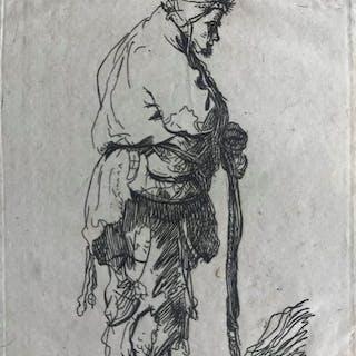Rembrandt Harmensz van Rijn (1606-1669) (Naar) - Bedelaar leunend op een stok
