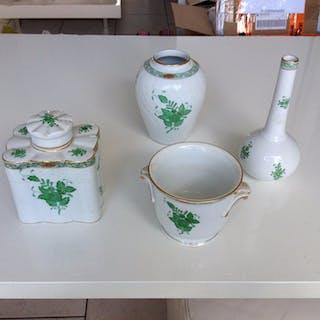 Herend - Vasen, Cachepot und Teedose - Apponyi grün (4) - Porzellan