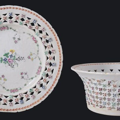 Famille rose linglong panier et plateau - Porcelaine...